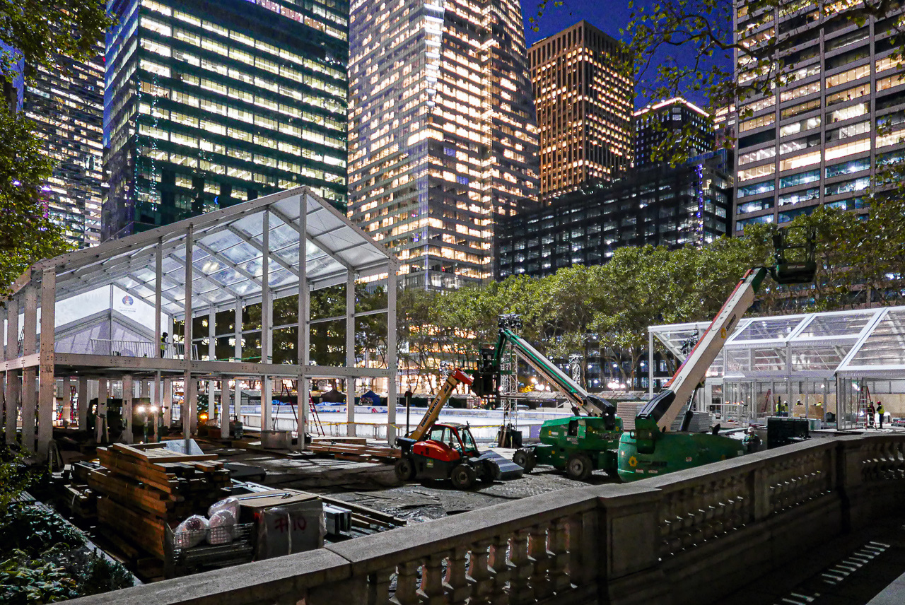 Getting ready for the winter. Bryant Park, Midtown Manhattan.