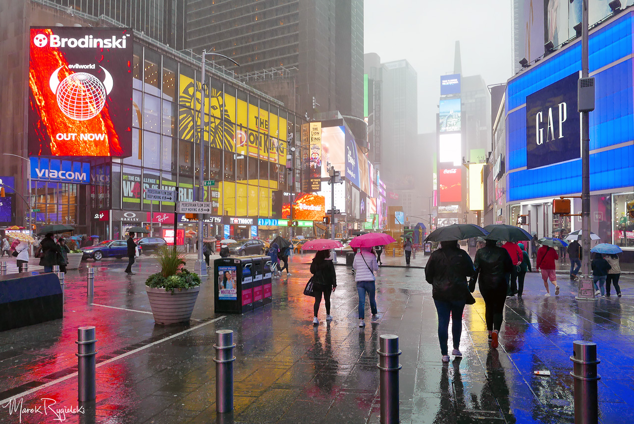 Rainy Day in New York City - Times Square.