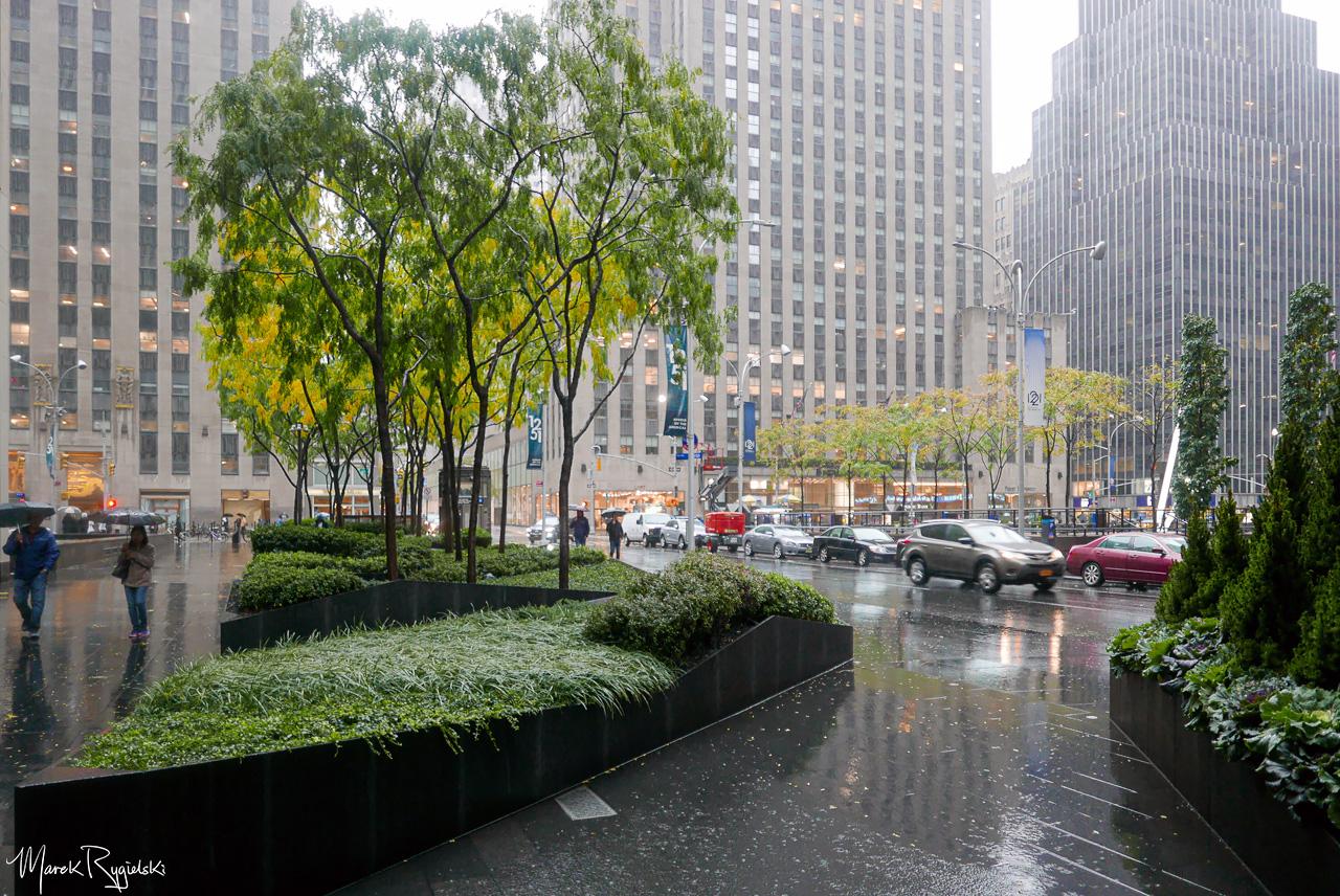 Rainy Day in New York City. Avenue of the Americas.