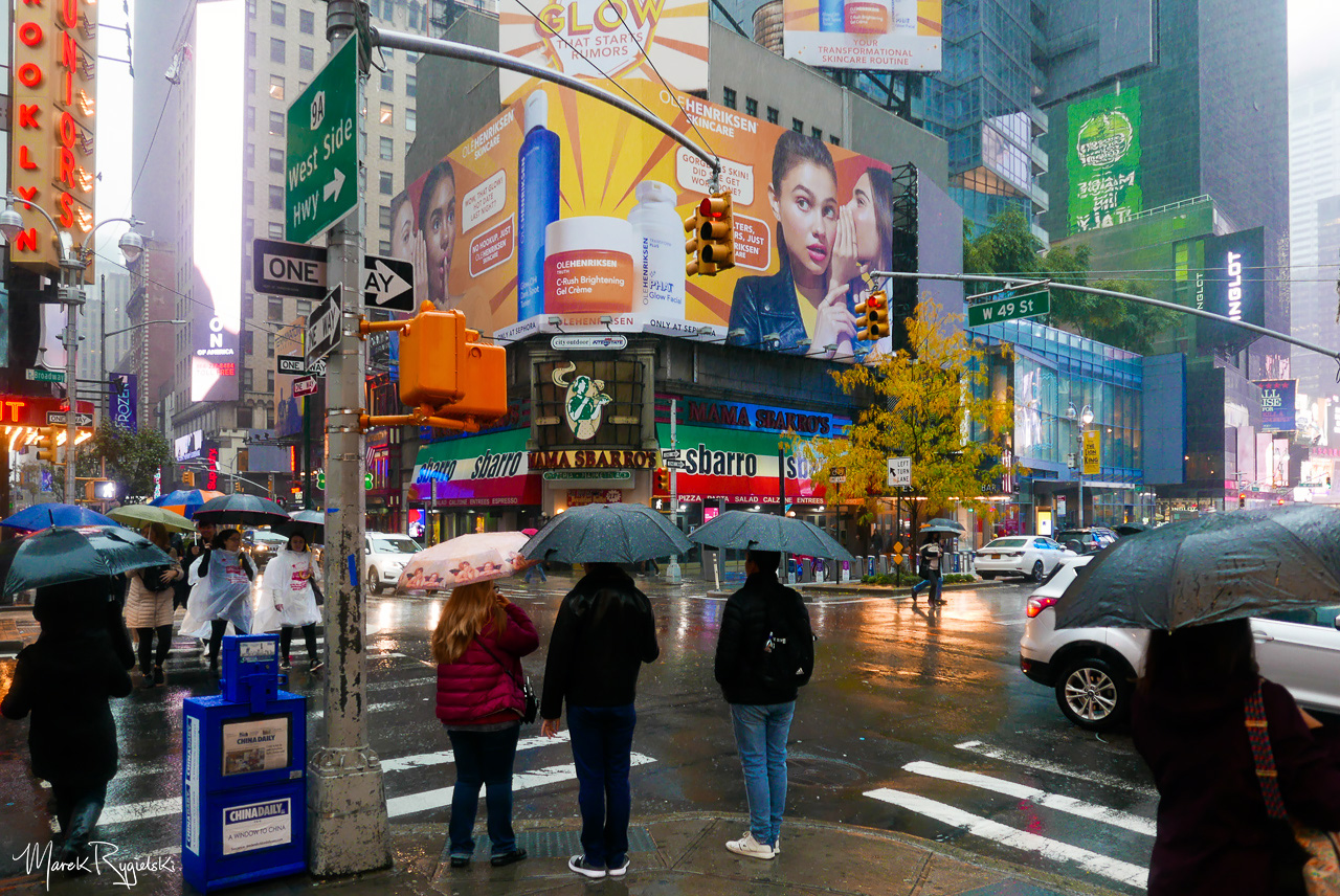 Rainy Day in New York City - Broadway.