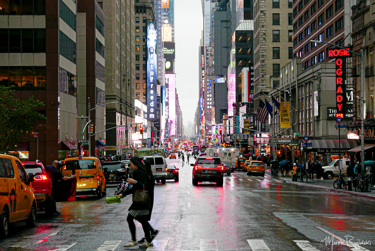 Rainy day in New York City. 7th Avenue, Manhattan.