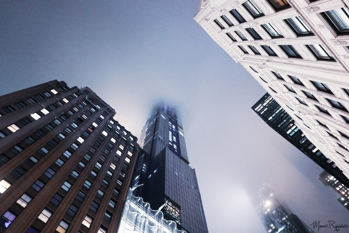 Foggy night in New York City.