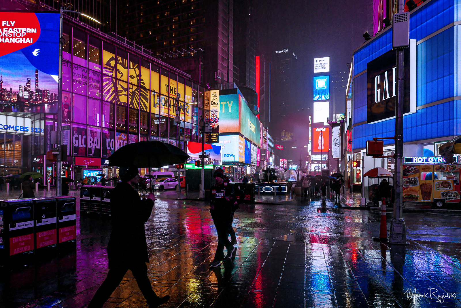 Rain day in New York City - Times Square.